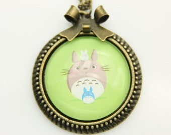 My neighbor totoro, Totoro Necklace, Totoro Pendant, Totoro Jewelry, Hayao Miyazaki glass dome pendat 2525C