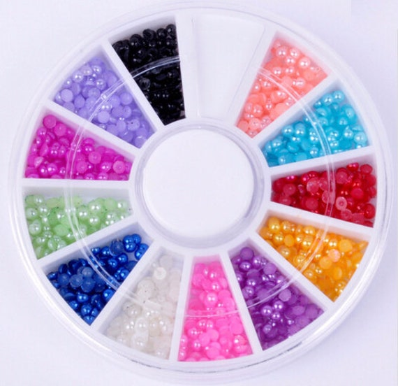 Clearance Sale - 1800 Pearl Nail Art Gems in a round case, Wheel, 12 ...