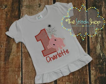 Charlotte's Web Themed Mongorammed and Applique  Birthday Shirt