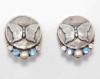 Sterling Artisan Butterfly Earrings With Gemstones