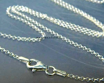 22 in. Italy 925 Sterling Silver Rolo Chain 1.5mm Necklace FC16
