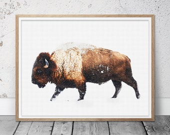 Buffalo Print, Bison Wall Decor, Snow, Buffalo In The Snow,Boys Kids Room Decor, Large Poster, Forest House Decor, American Nature Animal