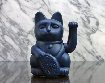 Maneki Neko / Lucky Cat / Waving Cat in 2 Sizes – Midnight Blue