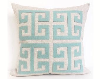 Greek Key Pillow with Seafoam Wool Felt Applique on Oatmeal Linen