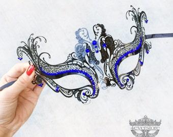 Masquerade Mask, Black Masquerade Mask,  Masquerade Ball Mask, Mask w/ Exquisite Rhinestones [Blue Rhinestones]