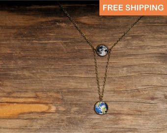 Earth and Moon necklace, gift or women, daughter gift, gift for her, space necklace, statement necklace, solar system double nrcklace