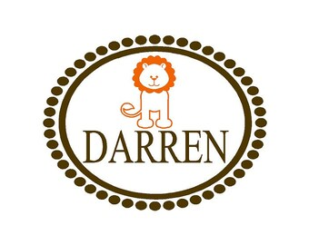 Personalized Vinyl Wall Decal - Monogram Baby Boy Decal with Name Lion and Oval Polka Dot Frame Border 22H x 28W FN0322