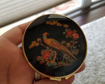 Beautiful Vintage, Peacock, black and gold Double mirrored compact, Stratton England