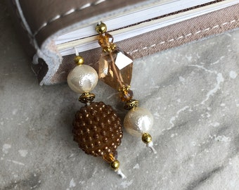 BEADED BOOKMARK for Travelers Notebooks | Planners | Journals | Books BROWN with ivory and gold accents