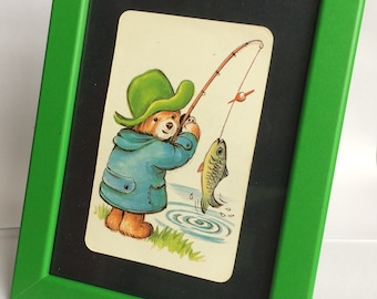 Framed Paddington Bear Picture Fishing Paddington. New Frame Vintage Paddington Playing Card
