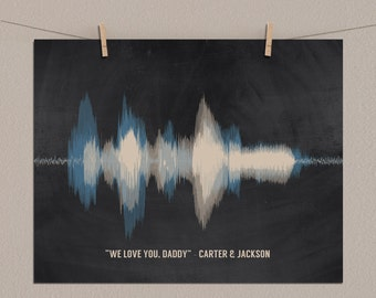 Fathers Day Gift from Son, from Daughter, from Kids, Best Gifts for Dad, Birthday Gift for Dad - Voice Recording, Sound Wave Art Print
