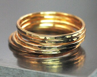 14K Gold Filled Hammered Stacking Rings / 14K Gold  Filled Rings Made to Order Size / 1 to 5, 14K Gold Rings Select The Quantity