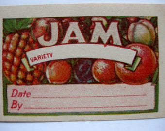 6 Vintage Jam Canning Labels, Full Color, 1950s Gummed Labels