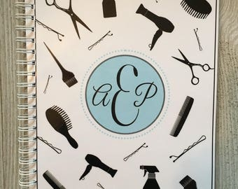 Salon Yearly Appointment Book with Income Tracking - Black Stylist Tools - Personalized
