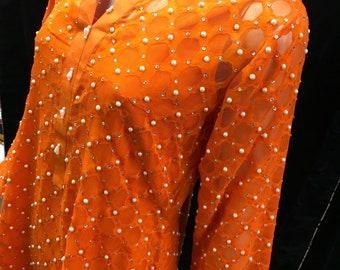Orange self print Schiffon with pearls