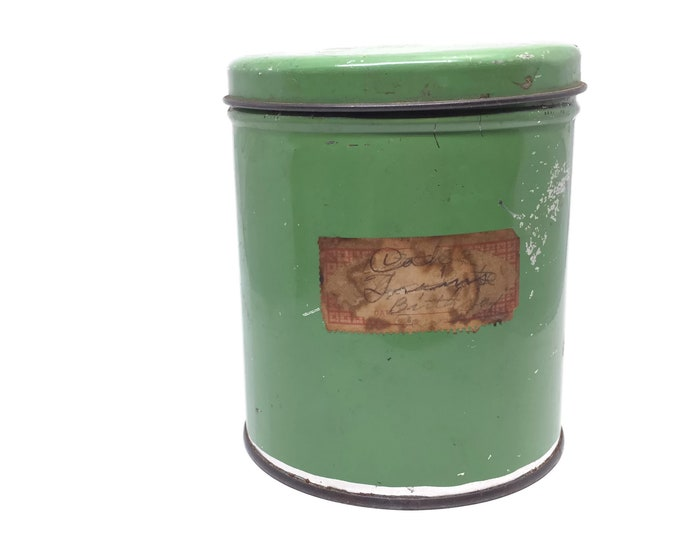 1940s Chippy Vintage Tin Can with Hand Written Paper Label