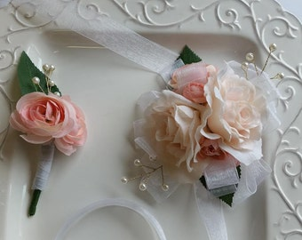 Prom Wrist Corsage and Boutonniere Set   Blush Wrist Corsage and Matching Boutonniere   Prom Set  SEE DESCRIPTION
