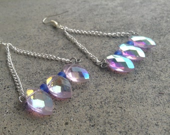 Trapeze Earrings with Pink and Blue Beads