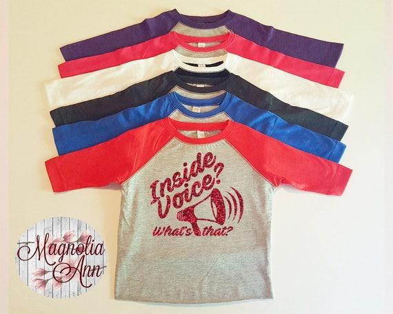 Inside Voice? What's that? Megaphone, Bullhorn, Too Loud, Toddler Baseball Raglan T-shirt in 6 Colors in Sizes 2T-5/6