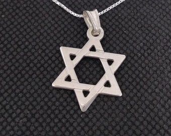Sterling Silver magen david necklace - star of david, jewish star necklace, star david necklace