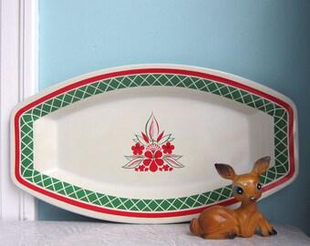 Red & Green Tray, Retro Christmas Tray, Mid Century Tray, Hostess Tray, Party Tray - Holiday Tray