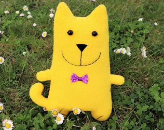 Yellow cute doll cat stuffed animal, plush kitty, cat soft toy, baby nursery decor, kid party favors, decorative cat pillow, kawaii kitten