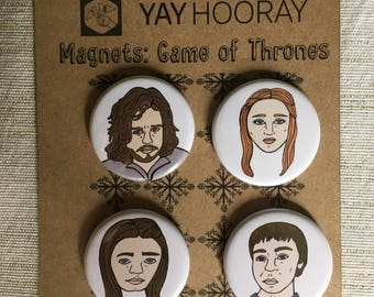 Game of Thrones, pin button badges, magnets hand drawn illustrations, Jon Snow, Sansa Stark, Ayra Stark, and  Bran Stark