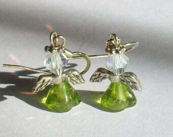 August Birthstone Angel Earrings