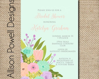 Spring Flower Bouquet Bridal Shower/Luncheon Elegant Invitations - Blue Pink PurplePrint your own