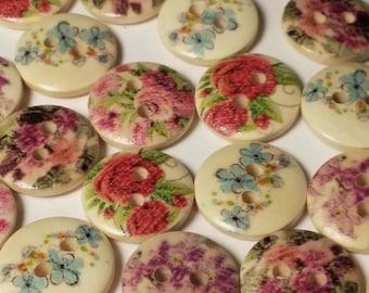 50pcs Assorted Flower Buttons - Wooden Buttons - 13mm - 2 Hole - Sewing Buttons - Scrapbook Supplies - Decorative Buttons - B3258H