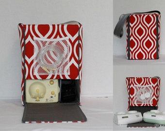 Ready to ship* Half size Ella style Breast Pump Bag in Red Diamond