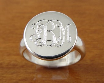 Monogram Ring- Initial Ring- Personalized Ring- Engraved Ring-Bridesmaids Ring-Womens Gift- Monogrammed Ring- Sterling Silver