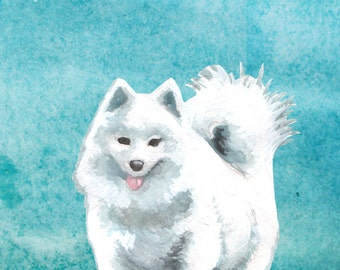 Samoyed Dog Art Print - dog art, home decor, watercolor art print, cute dog painting, nursery art, animal lover gift, dog owner gifts
