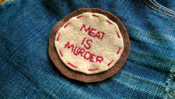 Meat is murder felt patch // hand-embroidered // beige and brown