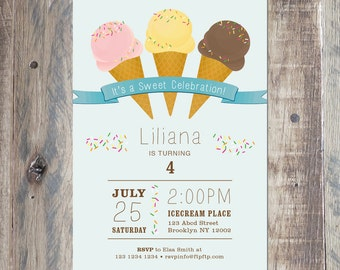 Ice Cream Birthday Invitation, Printable Digital Invitation