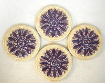 Handmade Decorative  Ceramic Tiles Floral Medallion  Deep Purple Plum Craft Tiles, Mosaic Tile Pieces set of 4
