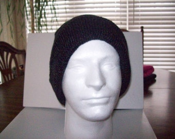 Black Grey Tweed Knitted Slouchy Beanie Heads  Slouchy Beanie Tam Dreads Hat