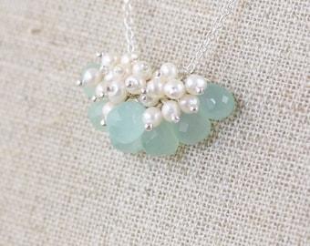 Aqua Chalcedony, Freshwater Pearl & Sterling Silver Necklace. Bead Cluster Pendant. Sea Foam Gemstone Jewelry. Womans Layering Jewellery