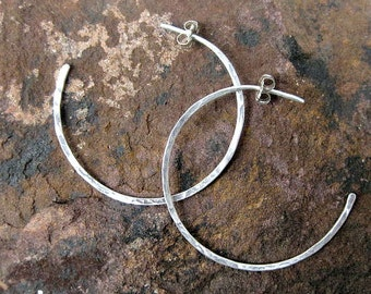 Sterling Silver hoop earrings, hammered hoop earrings, available in different sizes 1.5 to 3 inches handmade jewelry essential fashion item
