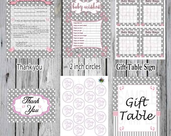 Pink, Polka Dots and Grey Striping  Baby shower Pack