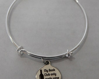 Book Club Wine Charm Bracelt