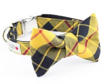 Mustard and Black Plaid Dog Bowtie Collar