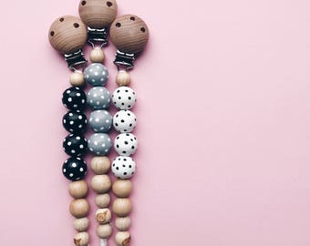 Handpainted pacifier holder - dots