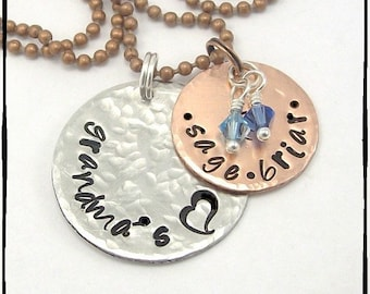 Unique Gift for Mom - Personalized Jewelry for Women - Customized Name Hand Stamped Necklace In Copper And Aluminum with Crystal Birthstones