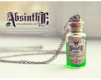 Absinthe bottle Necklace Potion bottle pendant, Absinthe necklace, Miniature bottle Glass Vial Necklace, dracula necklace inspirational Gift