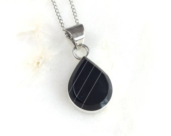 Vintage Mexican Sterling Onyx Pendant Necklace