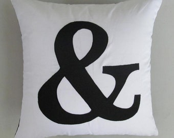 Ampersand  throw pillow in black and white 18 inch custom made cover only