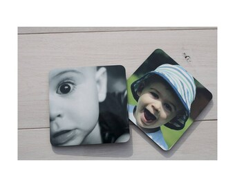 Personalised Photo Drinks Coasters Cork Backed Set of 4