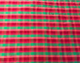 Hot Pink, Red and Green Plaid On 100% Silk Dupioni