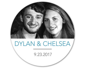 Photo Stickers - Personalized Wedding Stickers - Photo Labels - Wedding Photo Stickers - Custom Photo Stickers - Engagement Stickers